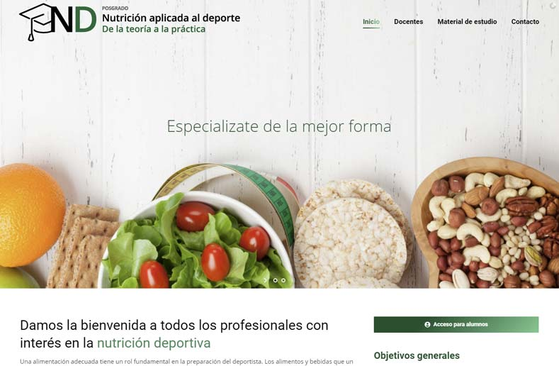 Posgrado: Nutrición aplicada al deporte